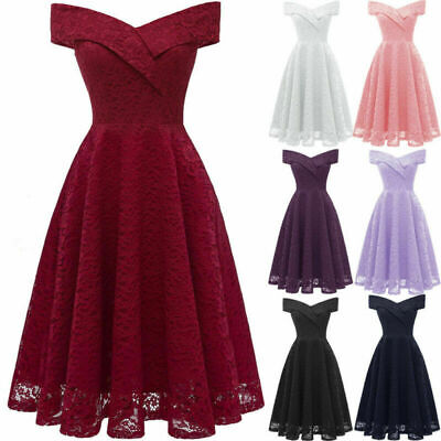 AU30.96 • Buy Womens 50s Vintage Off Shoulder Sexy Rockabilly Evening Party Prom Swing Dress