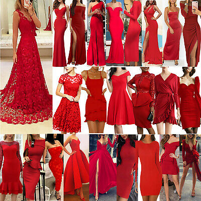 AU22.03 • Buy Women Red Sexy Ball Gown Party Dress Evening Cocktail Bridesmaid Formal Dresses
