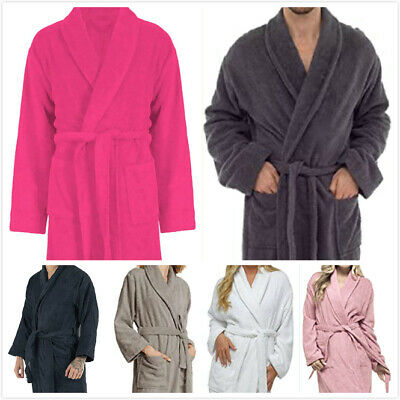 UNISEX Fleece Bathrobe Long Women's Winter Dressing Gown Sauna Robe With Pocket • 10.89£