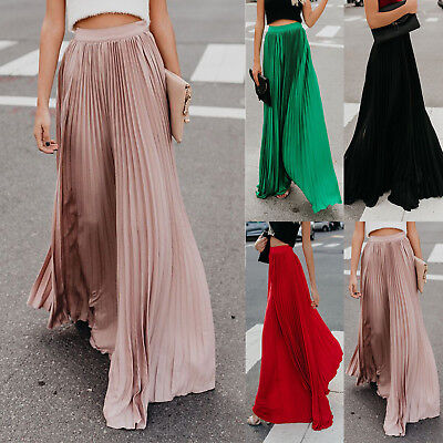 AU22.60 • Buy Women's Pleated Long Maxi Skirt Elastic Waist Evening Cocktail Party Comfy Dress