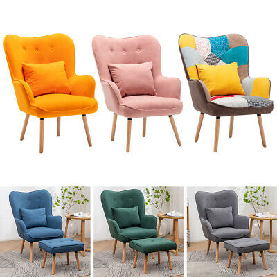 £179.94 • Buy Bohemian Patchwork Fabric Padded Wingback Soft Lounge Armchair+Stool Living Room