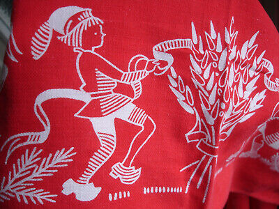 $ CDN33.99 • Buy Vintage Cotton Tablecloth Christmas Holliday Red Sweden Mid Century Elves