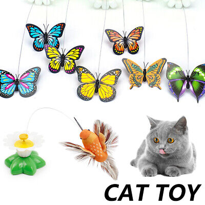AU9.99 • Buy Pets Cat Toys Teaser Electrical Rotating Colorful Butterfly Bird Scratching.🔥