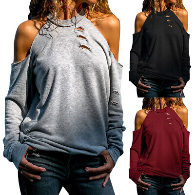 Womens Casual Long Sleeve Cold Shoulder Blouse Tops Ladies Hollow Loose T-shirt • 9.79£
