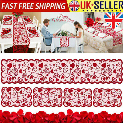 £4.69 • Buy  Red Heart Lace Table Runner For Home Indoor Valentine's Day Table Decoration