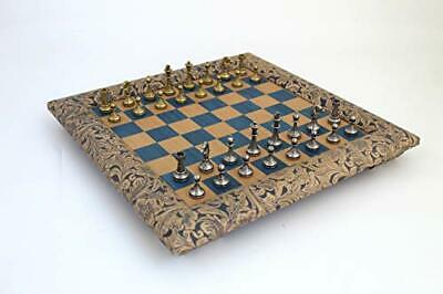 Italfama- Chess Board Set Metal Wood And Leather High Quality • 229.99£