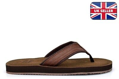 Mens Summer Sandals Faux Leather Flip Flops Leather Effect Mules Toe Post Brown • 13.96£