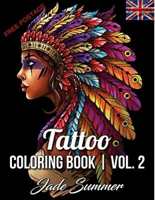 Tattoo Adult Colouring Book Stress Relief Therapy Mind Relaxing Fun Colour Books • 7.72£