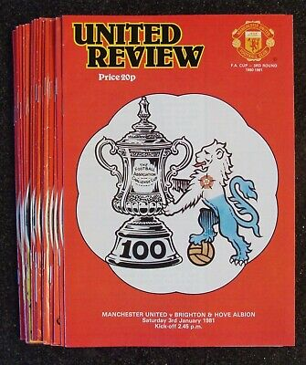 MANCHESTER UNITED 1980 / 1981 Season - Complete Set Of Home Football Programmes • 29.99£