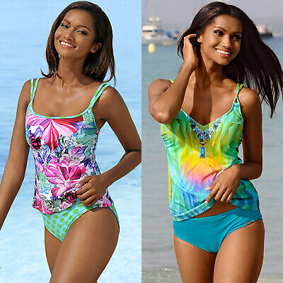 AU18.89 • Buy Vintage Floral Womens Bikini Set Tank Top Padded Tankini Swimming Beach Wear AU