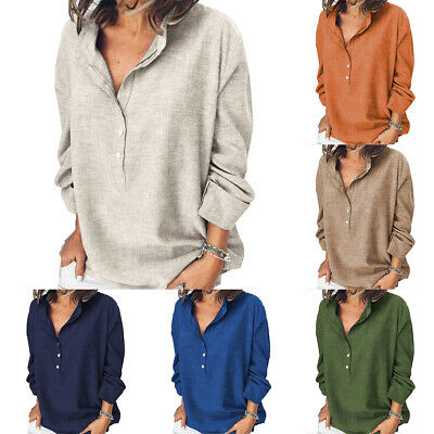 AU16.24 • Buy Womens Ladies V Neck Blouse Long Sleeve T Shirts Loose Tops Casual Plain Comfy