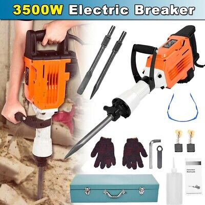 3500W Electric Breaker Concrete Demolition Hammer Jack Drill Industrial Tool Kit • 109.98£