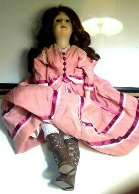 $ CDN19.79 • Buy Porcelain Doll With Pearl-style Studded Cowboy Boots Country Vintage