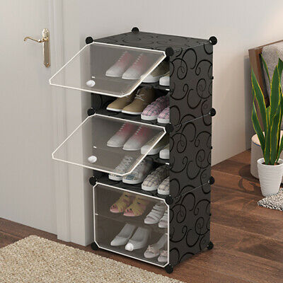 AU28.99 • Buy 6 Row Clear Door Cube DIY Shoe Cabinet Rack Storage Stackable Organiser Stand