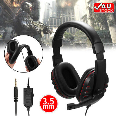 AU16.99 • Buy Gaming Headset With Mic Wired 3.5mm Stereo PC Headphone Microphone For Laptop AU