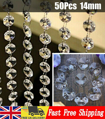 £6.33 • Buy 50 Chandelier Light Crystals Droplets Glass Beads Drops 14mm Wedding Lamp Decors