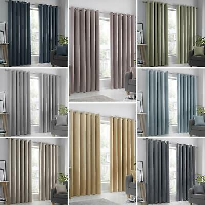 £26.95 • Buy Block-Out Eyelet Curtains Plain Thermal Dim-Out Ready Made Ring Top Curtain Pair