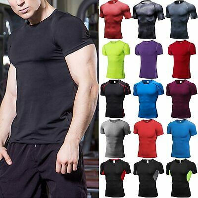 Mens Compression Short Sleeve Tee Shirt Fitness Under Base Layer Tee Tops Shirts • 11.69£