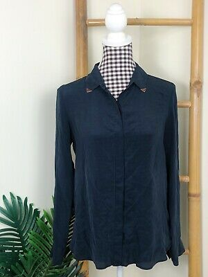 AU38 • Buy Zara Shirt Size M (8-10) Silk Long Sleeve Blue Navy Casual Office Blouse Light