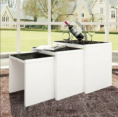 Nest Of 3 Tables Coffee Table 3 Set Unit Black Tempered Glass Table Top Side End • 110£