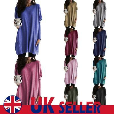 UK Women Loose T Shirt Tops Ladies Pocket Pullover Jumper Baggy Tunic Blouse Tee • 11.69£