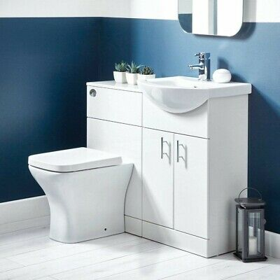 1050mm Combination Vanity & Toilet Set Back To Wall Pan & Seat White Modern • 329.95£