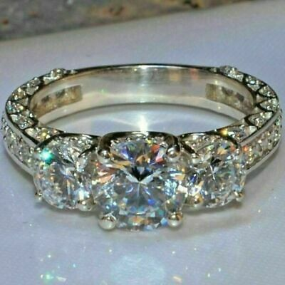 2Ct Round-Cut Diamond Solitaire 3Stone Engagement Ring 14K White Gold Over • 89.99£