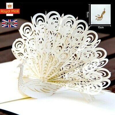 £3.99 • Buy 3D Pop Up White Peacock Greeting Card Birthday, Anniversary, Wedding, Thank You.