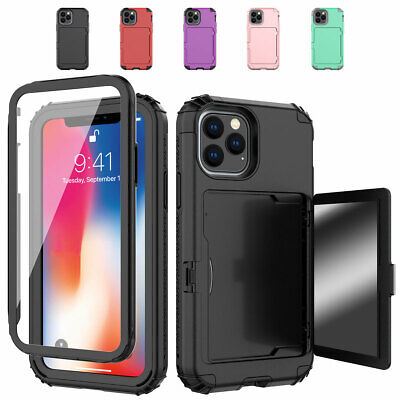 AU10.99 • Buy For IPhone 12 11 Pro Max Xs Xr 8 7 6 SE Card Holder Shockproof Mirror Case Cover