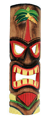 £19.97 • Buy TIKI Mask Wooden Wall Plaque 50cm Hand Carved Painted SURFER/ MAORI STYLE PALM