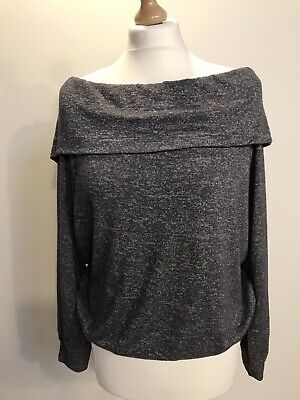 Abercrombie And Fitch Women's Jumper Size L Grey Off The Shoulder Sweater • 8.99£