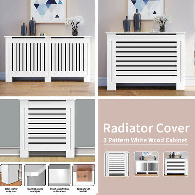 Grey Radiator Cover Small Large Modern MDF Slats Wood Grill Cabinet Furniture`! • 26.59£