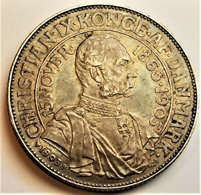 1903 Denmark 2 Kroner Toned XF Silver Coin - 40th Year Of King Christian IX • 62.17£