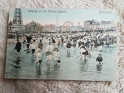 Wading At Central Beach, Blackpool. Vintage  Printed Postcard • 2.99£