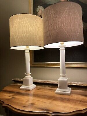 Pair Of Refurbished Vintage Classical Column  Marble Table Lamps  • 225£