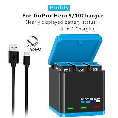 $ CDN45.22 • Buy Original Probty For GoPro Hero 9 Black 3 Batteries + Triple Charger Accessories