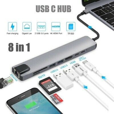 AU34.50 • Buy 8in 1 USB-C HUB Type-C USB Multi 3.0 4K HDMI RJ45 Ethernet Micro SD TF OTG