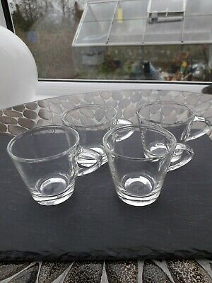 4 X Glass Espresso Cups  Never Used And In Excellent Condition  • 3.20£