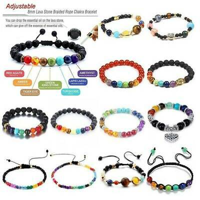 AU1.49 • Buy 7 Chakra Healing Beaded Bracelet Natural Lava Stone Diffuser Bangle Jewelry Gift