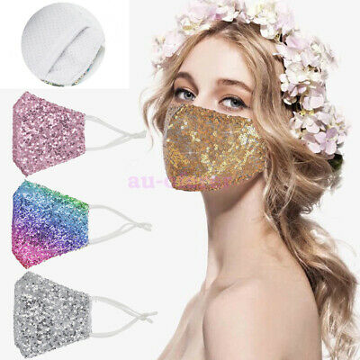 AU14.87 • Buy Rhinestone Bling Crystal Face Mask Sparkly Reusable Washable Party Mask Cover
