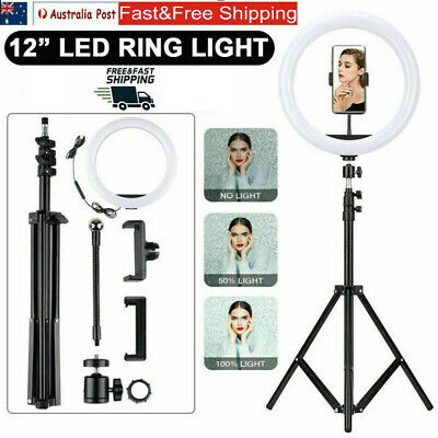 AU32.58 • Buy 12 Inch LED Ring Light With Stand And Phone Holder Make-up For Camera IPhone AU