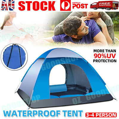 AU38.88 • Buy Waterproof Tent 3-4 Person Man Camping Dome Tent Pop Up Hiking Shelter Beach OZ