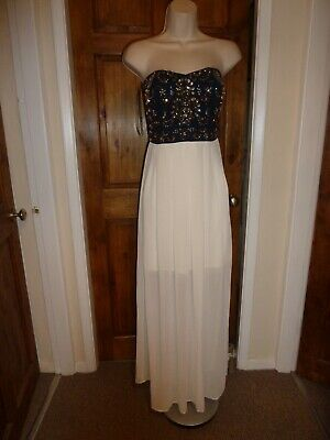Pretty Cream And Navy Strapless Beaded Detail Maxi Dress From TNFC Size 10 • 2.99£