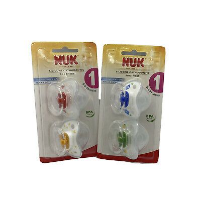AU14.99 • Buy NUK Silicone Orthodontic Soothers 0-6 Months BPA Free Baby Dummy Twin Pack
