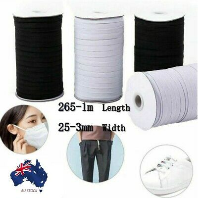 AU10.82 • Buy 265-1m Length 25-3mm Wide Sewing/Craft/Mask Flat Elastic Stretch Cord Face Masks