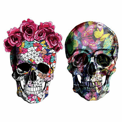 £2.93 • Buy 2PCS Iron On Transfer Patches Set Theme Skull Clothes Sticker