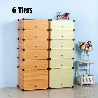 AU32.79 • Buy DIY 6 Cube Storage Cabinet Compartment Wardrobe Shoe Rack Shelf Portable