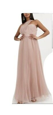 ASOS DESIGN One Shoulder Tulle Maxi Dress In Mink Bridesmaid Dress Size 12 • 30£