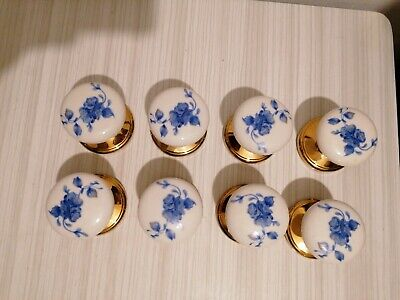 WHITE BLUE FLORAL CERAMIC MORTICE KNOBS 60mm Round X8.  • 32£