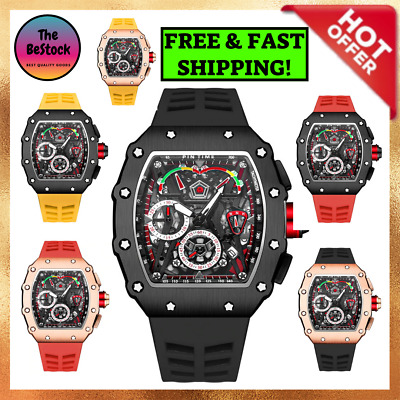 $ CDN44.39 • Buy Gold Red Limited Edition Sport Watch For Men Chronograph Luxury Quartz Military